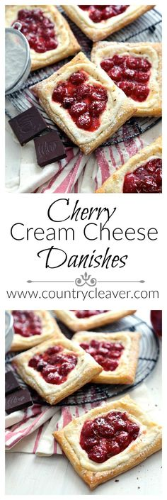 These quick and easy Cherry Cream Cheese Danishes are the perfect on the go breakfast, or sweet treat for the end of the day! Cream Cheese Puff Pastry, Cream Cheese Danish, Puff Pastry Dough, Puff Pastry Recipes, Phyllo Recipes, Strudel, Köstliche Desserts, Dessert Recipes, Health Desserts