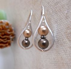 Tear Drop Earrings - Silver - Bronze and brown pearls Brown tone Free Shipping Gift  Wedding earrings 17.00 USD Available at http://ift.tt/1NM3wVS