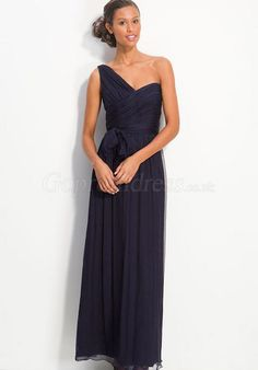 vintage ruched bodice column blue Chiffon Evening Dress - gopromdres.com- shorter length?