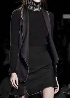 All black outfit with beaded trim, chic fashion details // Alexander Wang Fall 2015
