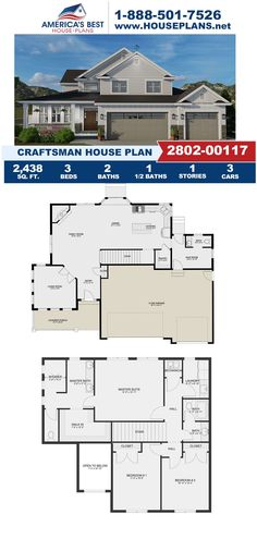 If you love the Craftsman design, you will love Plan 2802-00117 featuring 2,438 sq. ft., 3 bedrooms, 2.5 bathrooms, a formal living room, a mud room, and a kitchen island. Learn more about this design on our website today. Craftsman Style Homes, Craftsman House Plans, Floor Plan Drawing, Basement Layout, Floor Framing, Construction Cost, Floor Layout, Best House Plans, Build Your Dream Home