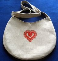"***Handbag By ""Hrvatska Designs,"" Embroidered Croatian Heart Design: ONE-OF-A-KIND! NEW!"