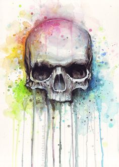 Skull Painting Watercolor Art Print Giclee Art Print of my original watercolor painting of a colorful skull. - High quality archival pigment inks - prints: on cotton fine art paper - 13 prints: on Skull Painting, Painting & Drawing, Painting Canvas, Images Disney, Totenkopf Tattoos, Colorful Skulls, Desenho Tattoo, Arte Horror, Skull Art