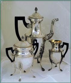 antique French coffee pot, creamer, sugar