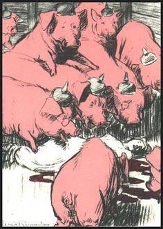 Louis Raemaekers' cartoon, Amsterdam Telegraaf, 1915: Thrown to the Swine: The Martyred Nurse. (The nurse is Edith Cavell.)
