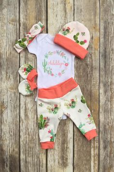 Girls Succulent Cactus Coming Home Outfit Personalized Girls Baby Set Custom Newborn Hospital Baby Shower Gift Floral Cactus Layette by DarlinDivasandDudes on Etsy - June 30 2019 at Baby Clothes Patterns, Cute Baby Clothes, Clothing Patterns, Baby Set, Baby Baby, Coming Home Outfit, Baby Girl Fashion, Babies Fashion, Women's Fashion