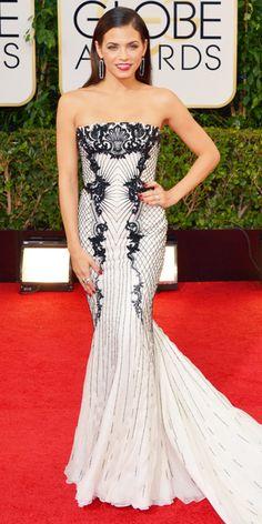 Graphic Black and White Gowns -Jenna Dewan-Tatum wore a stunning Roberto Cavalli lace illusion gown, which the 'Witches of East End' actress accented with Brian Atwood pumps, a black patent Edie Parker clutch and dramatic Irene Neuwirth jewelry.