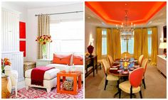 Deep orange is solid and strong against the room's adventurous colors. It's the richest hue in the palette and anchors the wild and romantic scheme. In both dinning and living room whether it is on accent pillows or the vibrant ceiling it has added the richness and stand still among other colors.