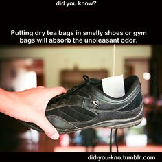 Putting dry tea bags in smelly shoes or gym bags will absorb with unpleasant odor. I need to do this for Devon's shoes!