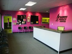 dance studio lobby. Love the colors