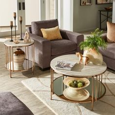 Shop Celsus Champagne Gold Finish Cocktail Table or Table Set with Faux Marble Top and Mirror Bottom by iNSPIRE Q Bold - On Sale - Overstock - 27883704 Nesting End Tables, Sofa End Tables, Coffee Table Dimensions, Gold Table, Cocktail Tables, Home Decor Items, Living Room Furniture, Living Spaces, Table Settings