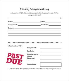 #missing assignment #free #forms #highschool #classroom #organization #documentation #class management