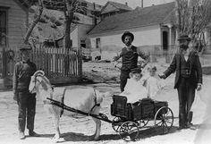Children riding a goat-drawn cart in Virginia City, NV.