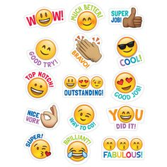 Students will love these Emoji stickers! Sweet and silly emoji faces along with their rewarding phrases will encourage children with social media and digital style. Approximately x 75 stickers per pack, bundle of 12 packs, 900 stickers total Reward Stickers, Teacher Stickers, Emoji Stickers, Classroom Rules, Classroom Displays, Classroom Themes, Colegio Ideas, Student Rewards, Creative Teaching Press