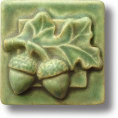 Whistling Frog Tile- Art Tile by Rick and Tonya by WhistlingFrogTile Craftsman Tile, Craftsman Interior, Acorn And Oak, Clay Tiles, Shabby, Leaf Art, Mold And Mildew, Tile Art, Arts And Crafts