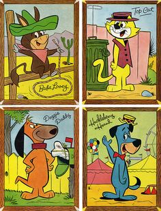 Hanna Barbera Pin Me Ups by grickily on Flickr. Baba Looey, Top Cat, Doggie Daddy, Huckleberry Hound