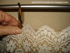 My Thrift Store Addiction: Refresh Your Home: No Sew Burlap And Lace Curtains! #BurlapAndLace #DIY #EasyNoSewCurtains