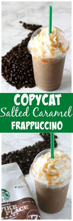 This Copycat frappuccino recipe is by far my favorite. It is a total Starbucks Copycat recipe and amazing. This Salted Caramel Frappuccino tastes just like the drink you get at Starbucks, but you can make this caramel frappuccino at home. You are going to love this Salted Caramel Frappuccino Starbucks Drink Copycat that you can make right at home! #Copycat #Copycatrecipe #caramel #caramelfrapuccino #SaltedCaramel #SaltedCaramelFrapuccino #Frappuccino #SaltedCaramelDrink #WeightWatchers