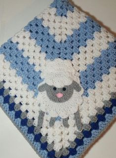Lamb Blue and White Baby Blanket / Crochet Baby Blanket / Baby Shower Gift For Boy / Lamb Theme Gift / Newborn Blanket, x : Lamb Blue and White Baby Blanket, Crocheted Lamb Baby Blanket, Baby Shower Gift For Boy, Lamb Theme Crochet Baby Mittens, Crochet Baby Blanket Beginner, Crochet Sheep, Crochet Baby Booties, Crochet Blanket Patterns, Crochet Toys, Hand Crochet, Baby Knitting, Boy Crochet