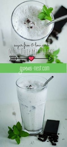 Sugar Free Mint Chip Milkshake ½ c. cottage cheese 1½- 2 c. ice 1 c. unsweetened almond milk 2 T or ¼ c. cream 1½ tsp vanilla ¼ tsp peppermint extract or 1-2 drops food grade essential oil 1-2 T Erythritol+ stevia to taste ⅛ t. gluccomannan or xanthan gum, opt ½ oz. 90% dark chocolate  Chop chocolate into smallish chunks. Add rest of ingredients to blender, and blend smooth. Add chocolate and pulse to chop them up to straw-sized chunks.