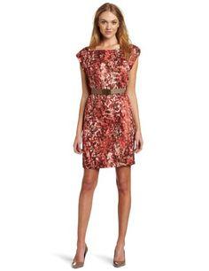 Anne Klein Women's Petite Watermark Printed Shell Dress, Multi, 8 Petite