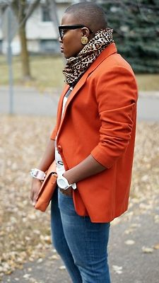 animal scarf, orange blazer and clutch with jeans    styleenthusiast:    Bald fade…