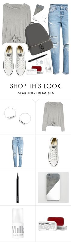 OOTD - GRAY TOP by artbyjwp on Polyvore featuring Beyond Yoga, Converse, Accessorize, Fig+Yarrow and MAC Cosmetics