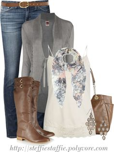 Cute Outfit  http://www.halftee.com Gray  brown combo- love!