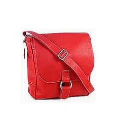 Waterfront Leather Messenger Bag Red