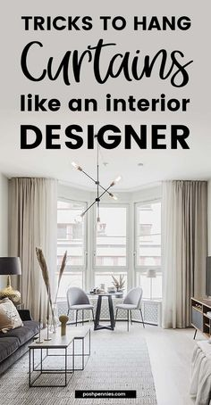 If you want to learn how to hang curtains properly, you need to read this post! It covers literally everything, no stone is left unturned! Handy curtain infographics, example photos, tons of ideas and…More Curtains Without Rods, Curtains Without Sewing, Sewing Curtains, How To Hem Curtains, Drapes Curtains, Bedroom Curtains, Ideas For Curtains, Livingroom Curtain Ideas, Large Window Curtains