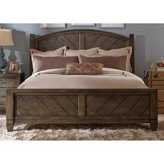 Modern Country King Poster Bed by Liberty - Brown
