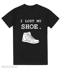 """Sam Supernatural Quote Tee I Lost My Shoe """"I lost my shoe."""" -Sam Winchester. American Apparel Unisex Fitted Tee Black. Supernatural Quote Designs. Printed on Skreened T-Shirt"""
