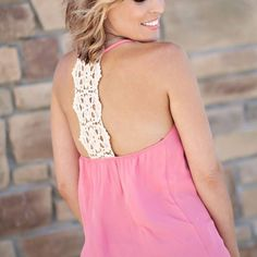 light coral crochet back tank from Sta-Glam for $29.99 on Square Market