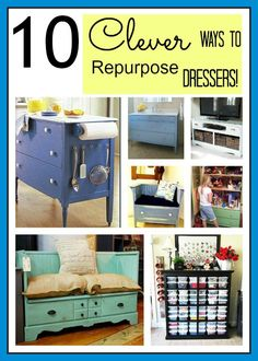 Recycle & Re-use. Here are some creative ways to maximize a small space & re-use that old vintage dresser (Bonus!) -K&P-