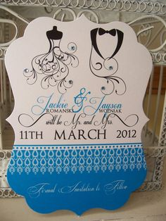 blue black tie and wedding dress save the date