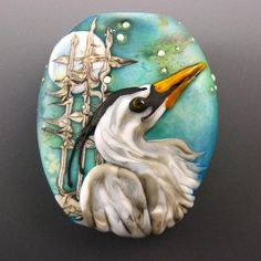 Kerribeads Lampwork Winter Heron Focal Bead