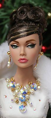 OOAK jewelry set for Fashion Royalty and Poppy Parker dolls with crystal flowers