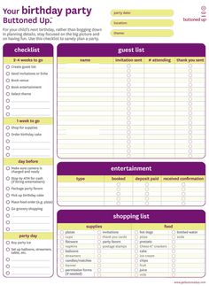 Birthday Party Planner Form- helps kids realize what goes into planning an event. Allows parents to delegate.