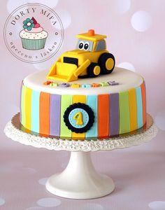 Toddler Birthday Cakes, Baby First Birthday Cake, Fondant Cake Toppers, Fondant Cakes, Excavator Cake, Digger Cake, Pool Cake, Flamingo Cake, Cake Decorating Designs