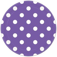 Purple Polka Dot Lunch Plates (8) Check out the rest of our Purple party supplies, including a mix of Chevron, Polka Dot, and Solid tableware, invitations, table covers, and more!