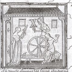 Textile Tools: Medieval Images of Spinning Wheels Medieval Life, Medieval Art, Medieval Manuscript, Illuminated Manuscript, Distaff Day, Lucet, Spinning Wool, Spinning Wheels, Hand Spinning