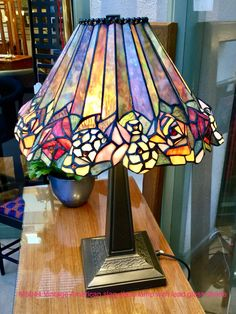 Vintage lamp with lead glass shade Tiffany Lamp Shade, Tiffany Lamps, Lampshade Ideas, Lead Glass, Stained Glass Lamps, Vintage Lamps, Table Lamps, Glass Shades, Mosaics