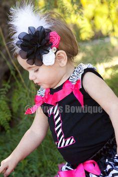 Hot Pink Black White Vintage Infant Girl Headband: Buy Baby Headbands & Hair Bows at Princess Bowtique