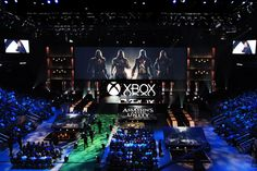 This year's Xbox Media Briefing took to the Galen Center, with an attendance of more than 4,300 people, including broadcast, print, and online press, partners, developers, and fans. An 80-foot center screen changed dynamically throughout the show through massive moving semi-transparent scenic doors that opened and closed to accommodate trailers and demos of varying aspect ratios. Photo: Nadine Froger Photography