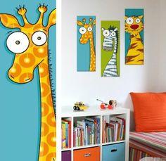 Tableau animal original pour chambre bébé et enfant. Tableau girafe.