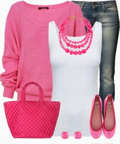 Pink jumper, Boody Boody Tank Top, Miss Sixty Jeans, MARILA FUCHSIA flat shoes, Berry tote bag