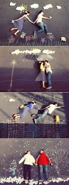 Sidewalk Chalk photography - perfect for engagement photos or wedding photos to display at the reception Chalk Photography, Creative Photography, Funny Photography, Photography Couples, Photography Portfolio, Travel Photography, Engagement Couple, Engagement Pictures, Photo Illusion