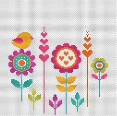 Cross Stitch Cards, Cross Stitch Flowers, Cross Stitching, Cross Stitch Embroidery, Hand Embroidery, Cross Stitch Patterns, Needlepoint Patterns, Modern Cross Stitch, Flower Patterns