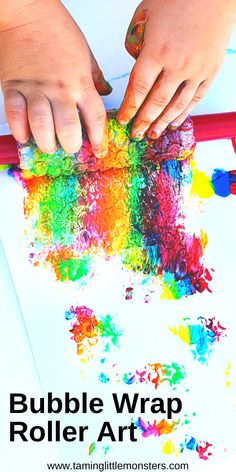 Get messy with this fun process art activity for kids. Toddlers, preschoolers and kindergartners will love developing fine motor skills as they roll and pop the bubble wrap in this easy painting idea.  #artsandcrafts #processart #toddler #preschooler #kindergarten #finemotor Preschool Art Activities, Toddler Painting Activities, Easy Art For Kids, Cute Kids Crafts, Creative Arts And Crafts, Chores For Kids, Toddler Art, Kindergarten Art, Process Art