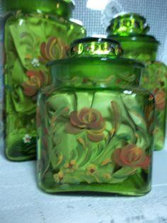 Kitchen Canister, Green Glass, Glass Canister, Hand Painted, Scandinavian  Design, Swedish, Norwegian, Rosemaling, Folk Art. Storage Jar | Jars, Glass  ...